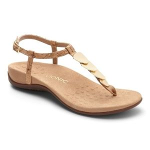 Vionic Gold & Cork Arch Support Sandals
